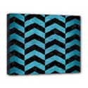 CHEVRON2 BLACK MARBLE & TEAL BRUSHED METAL Deluxe Canvas 20  x 16   View1