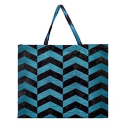 Chevron2 Black Marble & Teal Brushed Metal Zipper Large Tote Bag by trendistuff