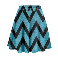 Chevron9 Black Marble & Teal Brushed Metal High Waist Skirt by trendistuff