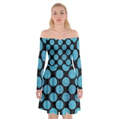 Circles2 Black Marble & Teal Brushed Metal (r) Off Shoulder Skater Dress