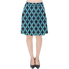Circles3 Black Marble & Teal Brushed Metal (r) Velvet High Waist Skirt by trendistuff