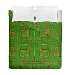 Golden Green And  Sunshine Pop Art Duvet Cover Double Side (full/ Double Size) by pepitasart