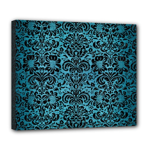 Damask2 Black Marble & Teal Brushed Metal Deluxe Canvas 24  X 20   by trendistuff
