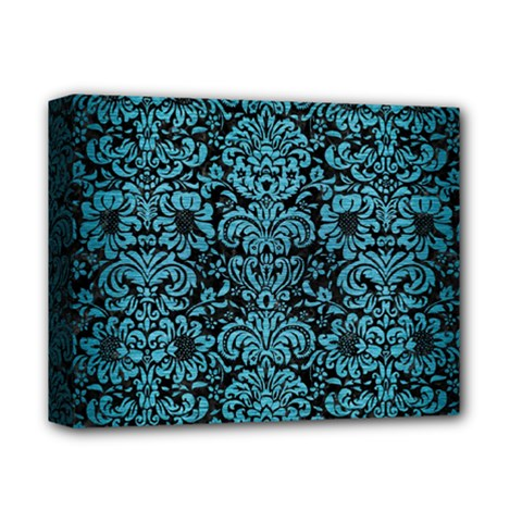 Damask2 Black Marble & Teal Brushed Metal (r) Deluxe Canvas 14  X 11  by trendistuff