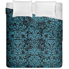 Damask2 Black Marble & Teal Brushed Metal (r) Duvet Cover Double Side (california King Size)