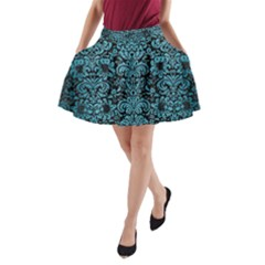Damask2 Black Marble & Teal Brushed Metal (r) A Line Pocket Skirt