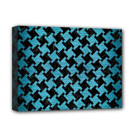 Houndstooth2 Black Marble & Teal Brushed Metal Deluxe Canvas 16  X 12   by trendistuff