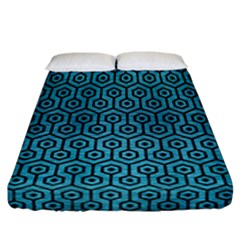 Hexagon1 Black Marble & Teal Brushed Metal Fitted Sheet (california King Size) by trendistuff