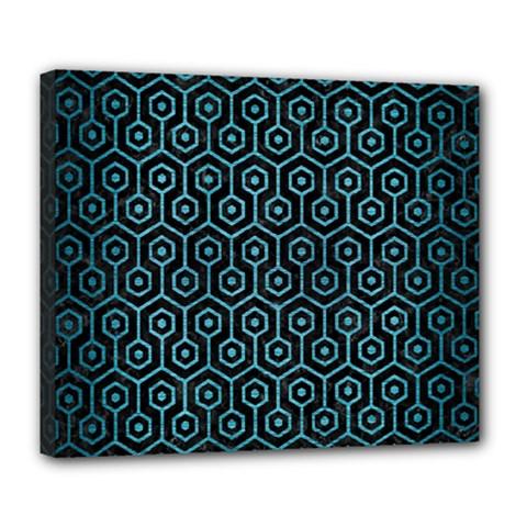 Hexagon1 Black Marble & Teal Brushed Metal (r) Deluxe Canvas 24  X 20   by trendistuff