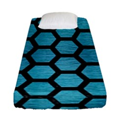 Hexagon2 Black Marble & Teal Brushed Metal Fitted Sheet (single Size) by trendistuff