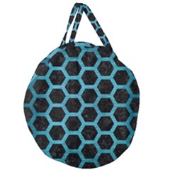 Hexagon2 Black Marble & Teal Brushed Metal (r) Giant Round Zipper Tote by trendistuff
