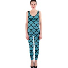 Scales1 Black Marble & Teal Brushed Metal Onepiece Catsuit
