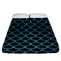 Scales1 Black Marble & Teal Brushed Metal (r) Fitted Sheet (queen Size)