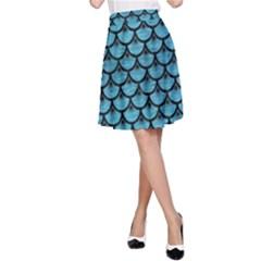 Scales3 Black Marble & Teal Brushed Metal A Line Skirt by trendistuff