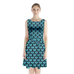 Scales3 Black Marble & Teal Brushed Metal Sleeveless Waist Tie Chiffon Dress
