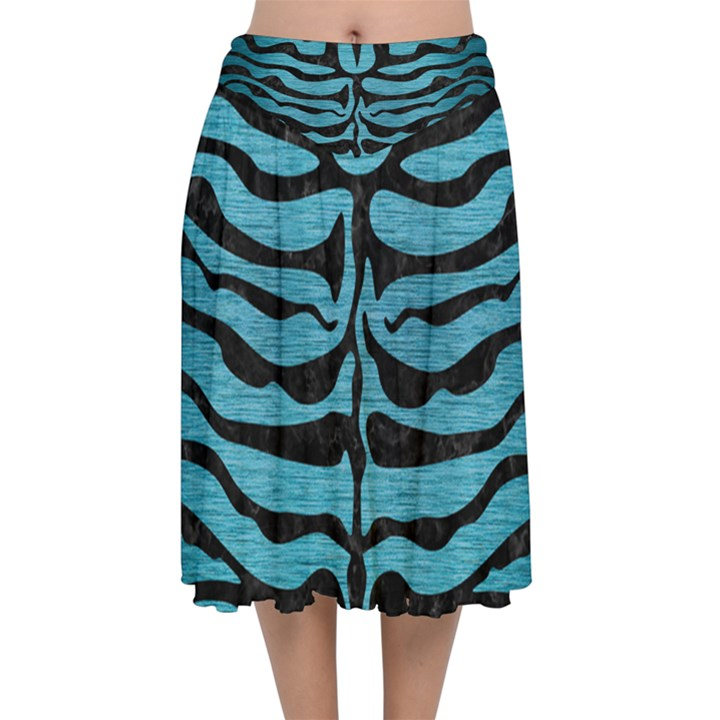 SKIN2 BLACK MARBLE & TEAL BRUSHED METAL Velvet Flared Midi Skirt