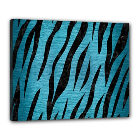 Skin3 Black Marble & Teal Brushed Metal Canvas 20  X 16  by trendistuff