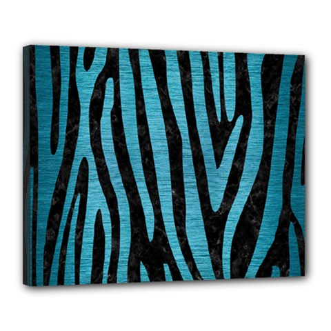 Skin4 Black Marble & Teal Brushed Metal Canvas 20  X 16  by trendistuff