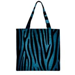 Skin4 Black Marble & Teal Brushed Metal (r) Zipper Grocery Tote Bag by trendistuff