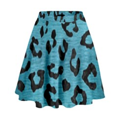 Skin5 Black Marble & Teal Brushed Metal (r) High Waist Skirt by trendistuff