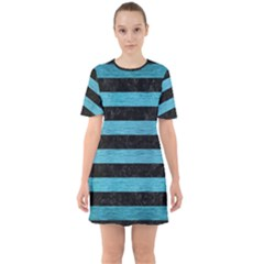 Stripes2 Black Marble & Teal Brushed Metal Sixties Short Sleeve Mini Dress