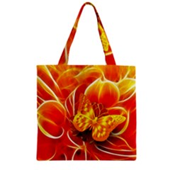 Arrangement Butterfly Aesthetics Orange Background Zipper Grocery Tote Bag by Celenk