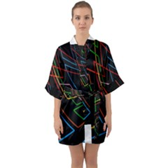Arrows Direction Opposed To Next Quarter Sleeve Kimono Robe