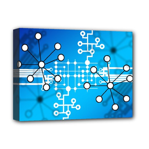 Block Chain Data Records Concept Deluxe Canvas 16  X 12   by Celenk