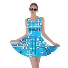 Block Chain Data Records Concept Skater Dress by Celenk