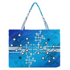 Block Chain Data Records Concept Zipper Medium Tote Bag by Celenk