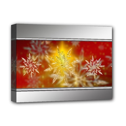 Christmas Candles Christmas Card Deluxe Canvas 16  X 12   by Celenk