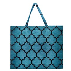 Tile1 Black Marble & Teal Brushed Metal Zipper Large Tote Bag by trendistuff