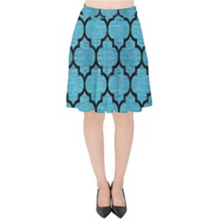 Tile1 Black Marble & Teal Brushed Metal Velvet High Waist Skirt by trendistuff