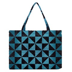 Triangle1 Black Marble & Teal Brushed Metal Zipper Medium Tote Bag by trendistuff
