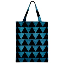 Triangle2 Black Marble & Teal Brushed Metal Zipper Classic Tote Bag by trendistuff