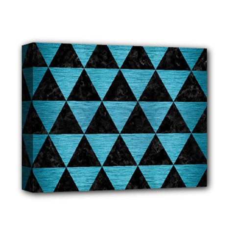 Triangle3 Black Marble & Teal Brushed Metal Deluxe Canvas 14  X 11  by trendistuff