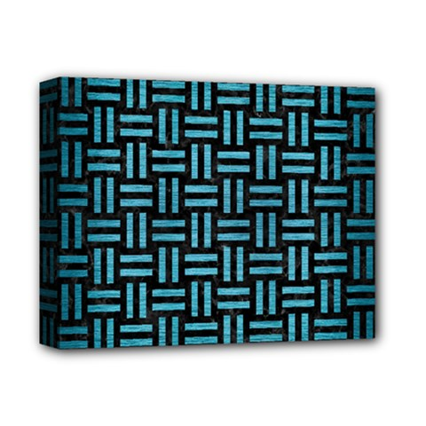 Woven1 Black Marble & Teal Brushed Metal (r) Deluxe Canvas 14  X 11  by trendistuff