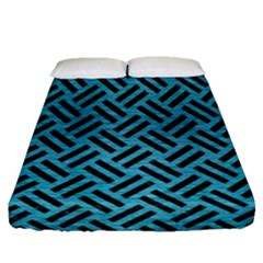 Woven2 Black Marble & Teal Brushed Metal Fitted Sheet (queen Size) by trendistuff