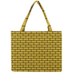 Brick1 Black Marble & Yellow Denim Mini Tote Bag by trendistuff