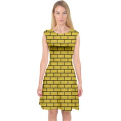 Brick1 Black Marble & Yellow Denim Capsleeve Midi Dress