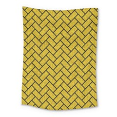 Brick2 Black Marble & Yellow Denim Medium Tapestry by trendistuff