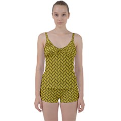 Brick2 Black Marble & Yellow Denim Tie Front Two Piece Tankini