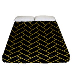 Brick2 Black Marble & Yellow Denim (r) Fitted Sheet (queen Size) by trendistuff