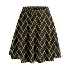 Brick2 Black Marble & Yellow Denim (r) High Waist Skirt by trendistuff
