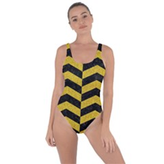 Chevron2 Black Marble & Yellow Denim Bring Sexy Back Swimsuit