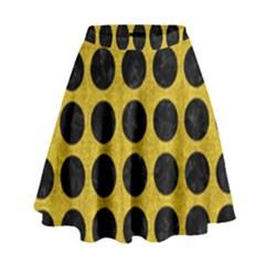 Circles1 Black Marble & Yellow Denim High Waist Skirt by trendistuff