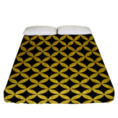 Circles3 Black Marble & Yellow Denim (r) Fitted Sheet (queen Size) by trendistuff