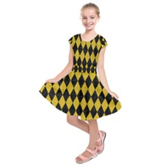 Diamond1 Black Marble & Yellow Denim Kids  Short Sleeve Dress