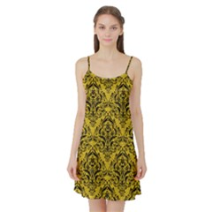 Damask1 Black Marble & Yellow Denim Satin Night Slip