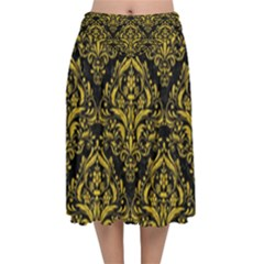 Damask1 Black Marble & Yellow Denim (r) Velvet Flared Midi Skirt